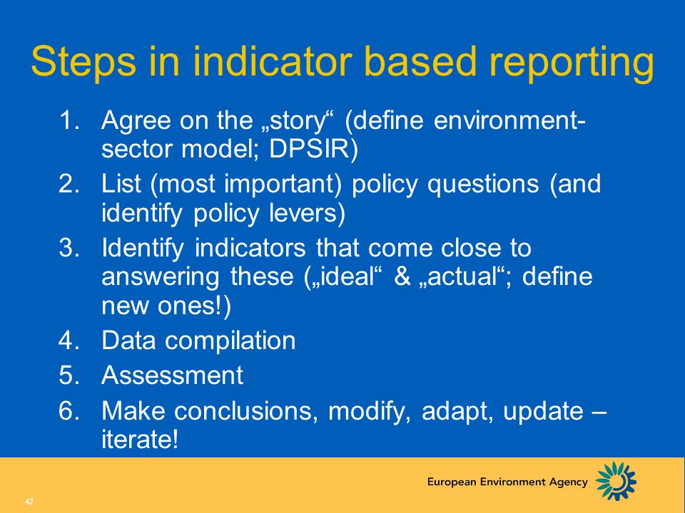 Steps in indicator based reporting
