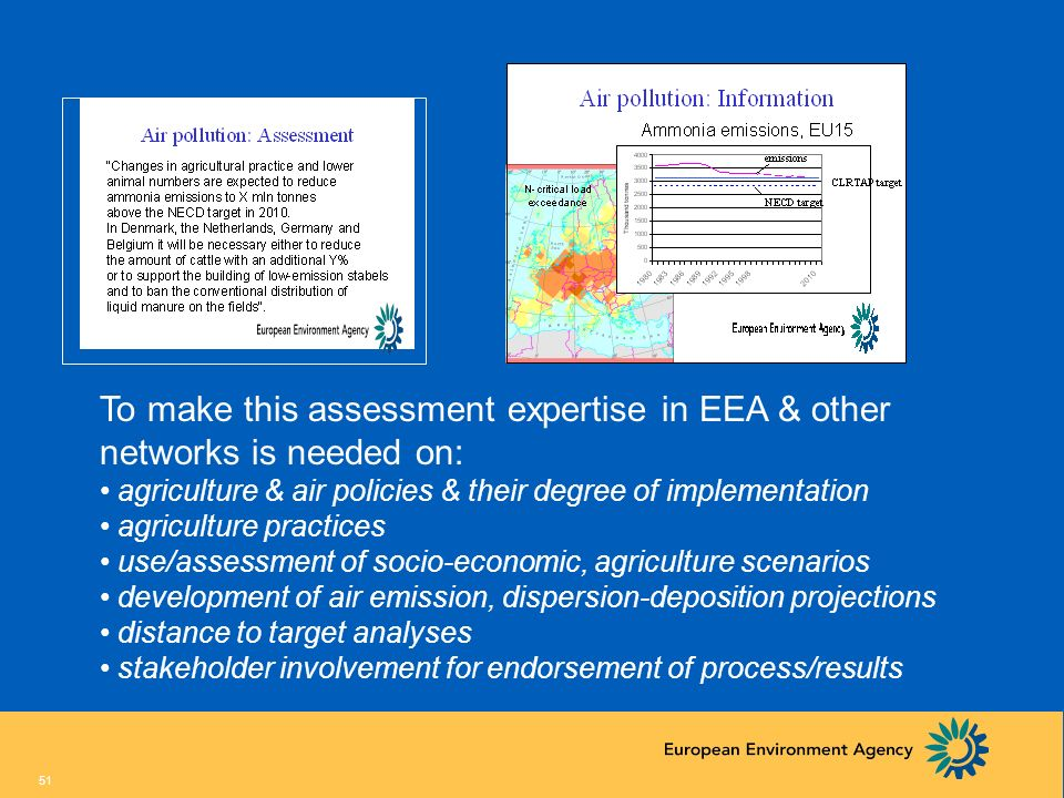 To make this assessment expertise in EEA & other networks is needed on: