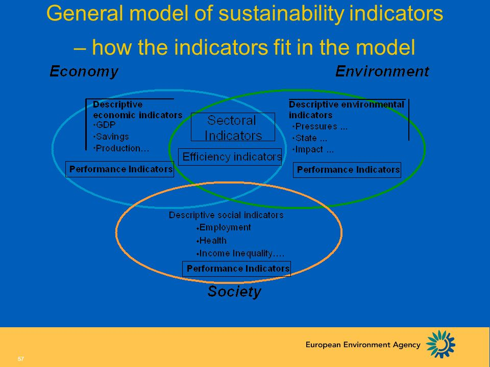 General model of sustainability indicators – how the indicators fit in the model