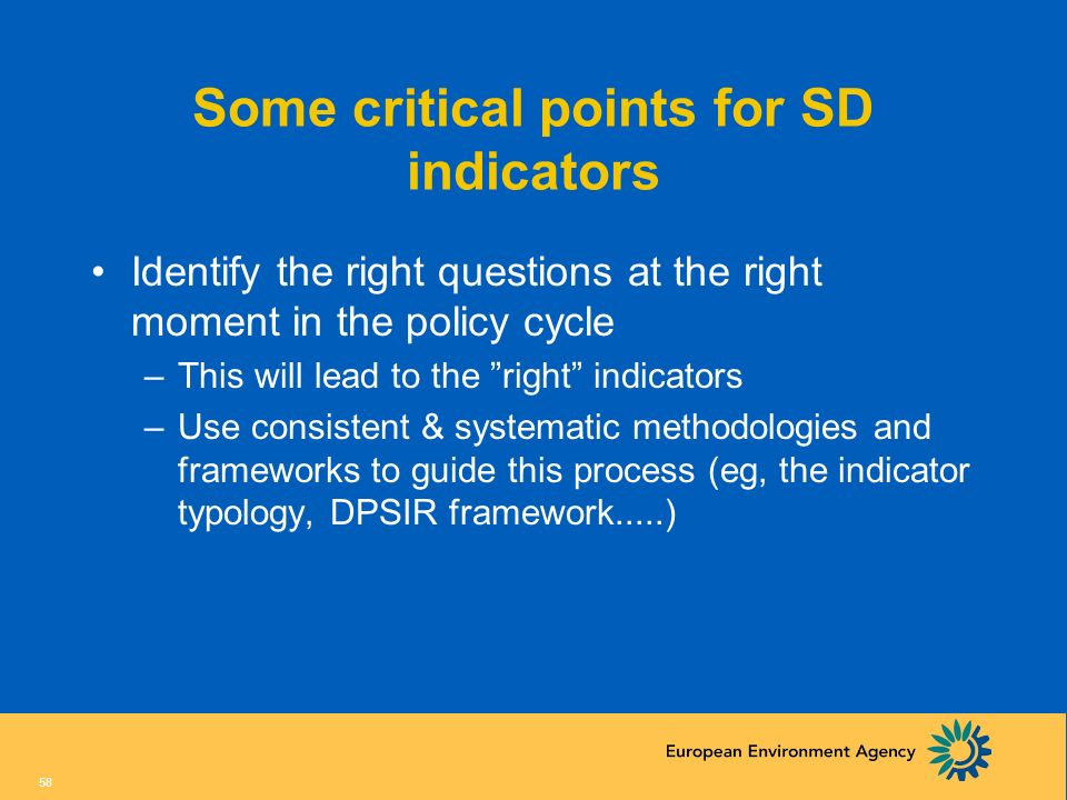 Some critical points for SD indicators