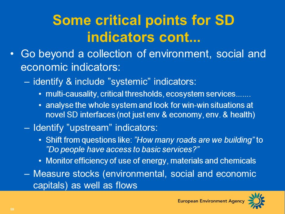 Some critical points for SD indicators cont...