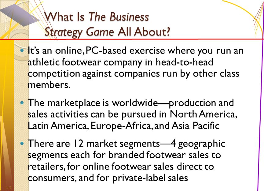 23685319 the business strategy game What is the business strategy game all about it's an online, pc-based  exercise where you run an athletic footwear company in head-to-head  competition.