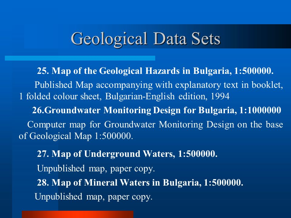 Geological Data Sets 27. Map of Underground Waters, 1:500000.