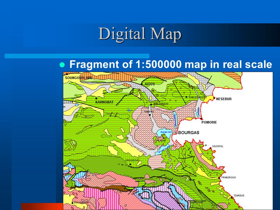 Digital Map Fragment of 1:500000 map in real scale