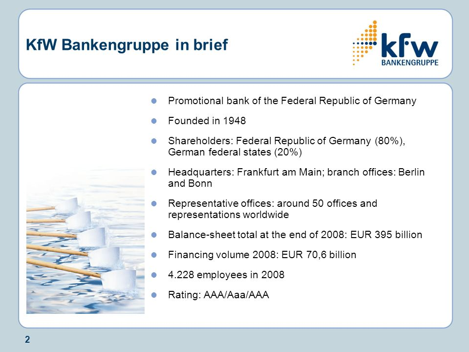 KfW Bankengruppe in brief