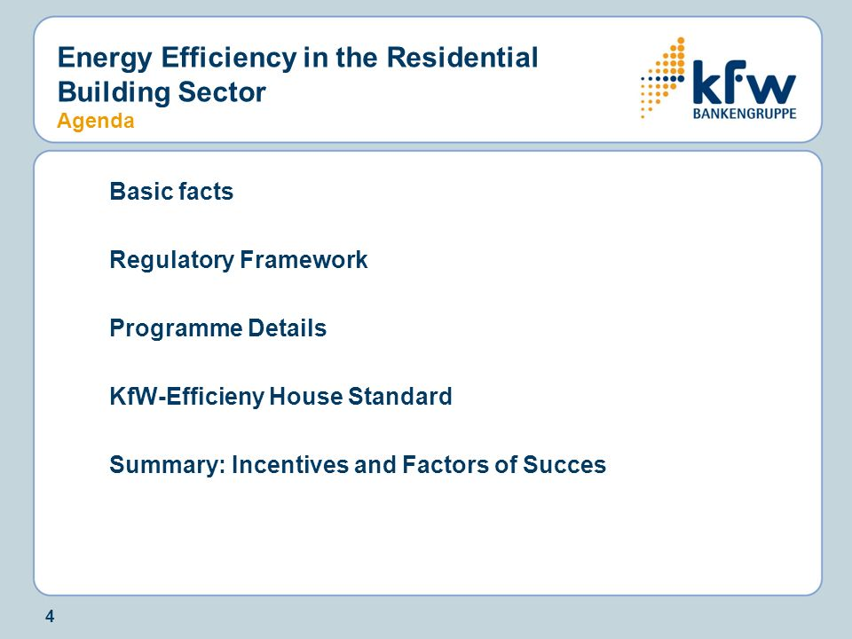 Energy Efficiency in the Residential Building Sector Agenda