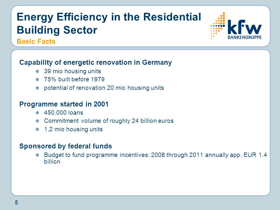 Energy Efficiency in the Residential Building Sector Basic Facts