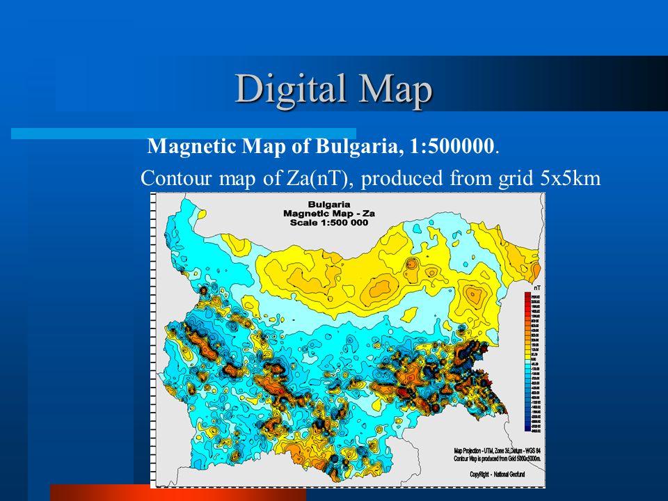 Digital Map Magnetic Map of Bulgaria, 1:500000.