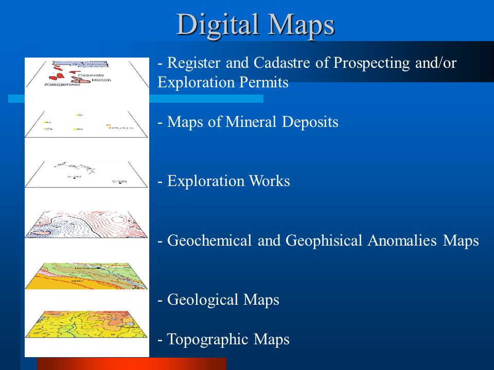 Digital Maps - Register and Cadastre of Prospecting and/or