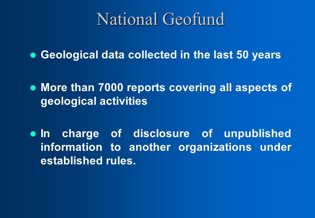 National Geofund Geological data collected in the last 50 years