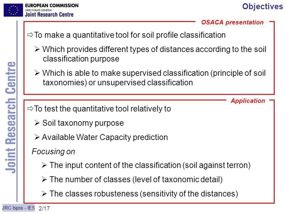 To make a quantitative tool for soil profile classification