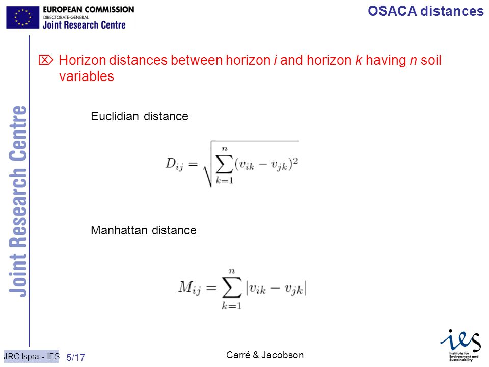 OSACA distances  Horizon distances between horizon i and horizon k having n soil variables. Euclidian distance.