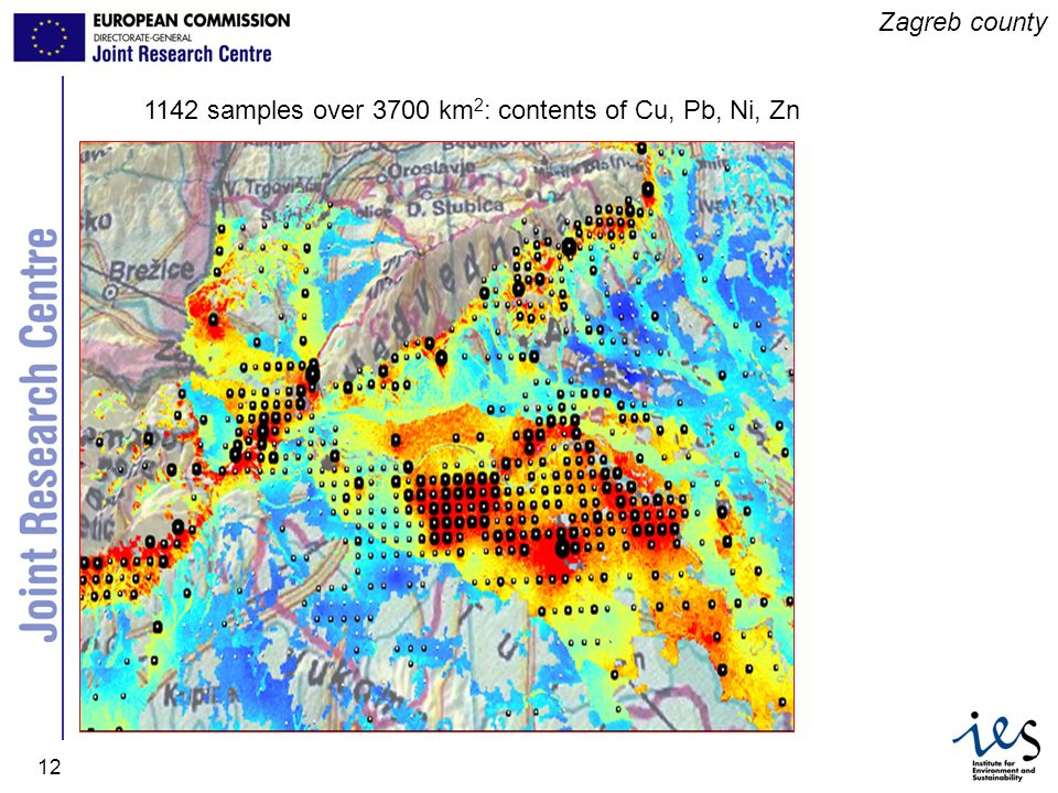 Zagreb county 1142 samples over 3700 km2: contents of Cu, Pb, Ni, Zn