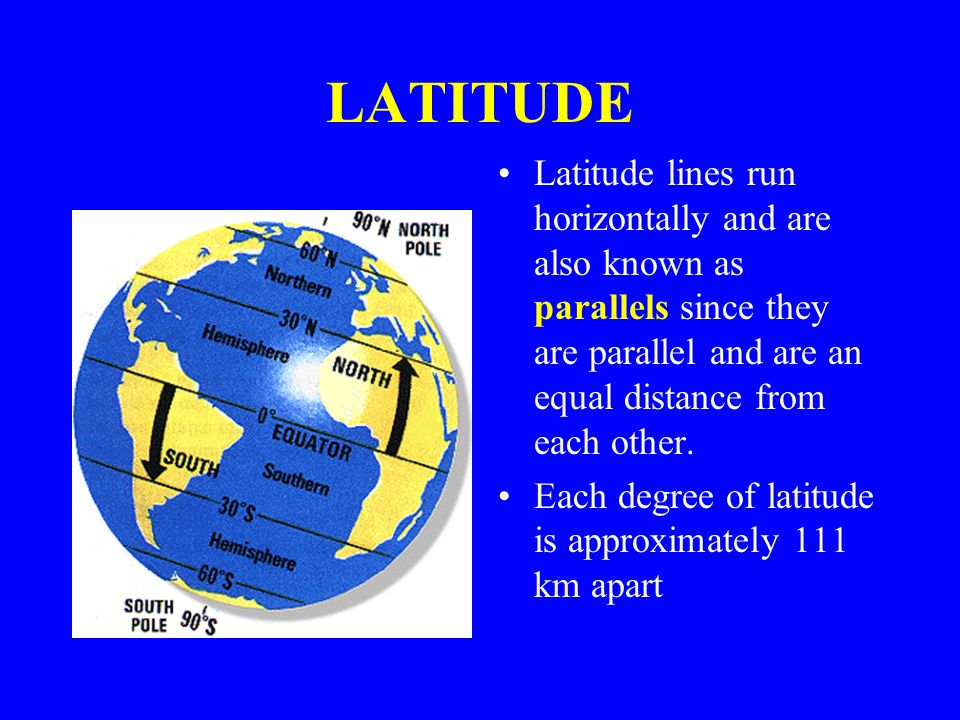 LATITUDE Latitude lines run horizontally and are also known as parallels since they are parallel and are an equal distance from each other.