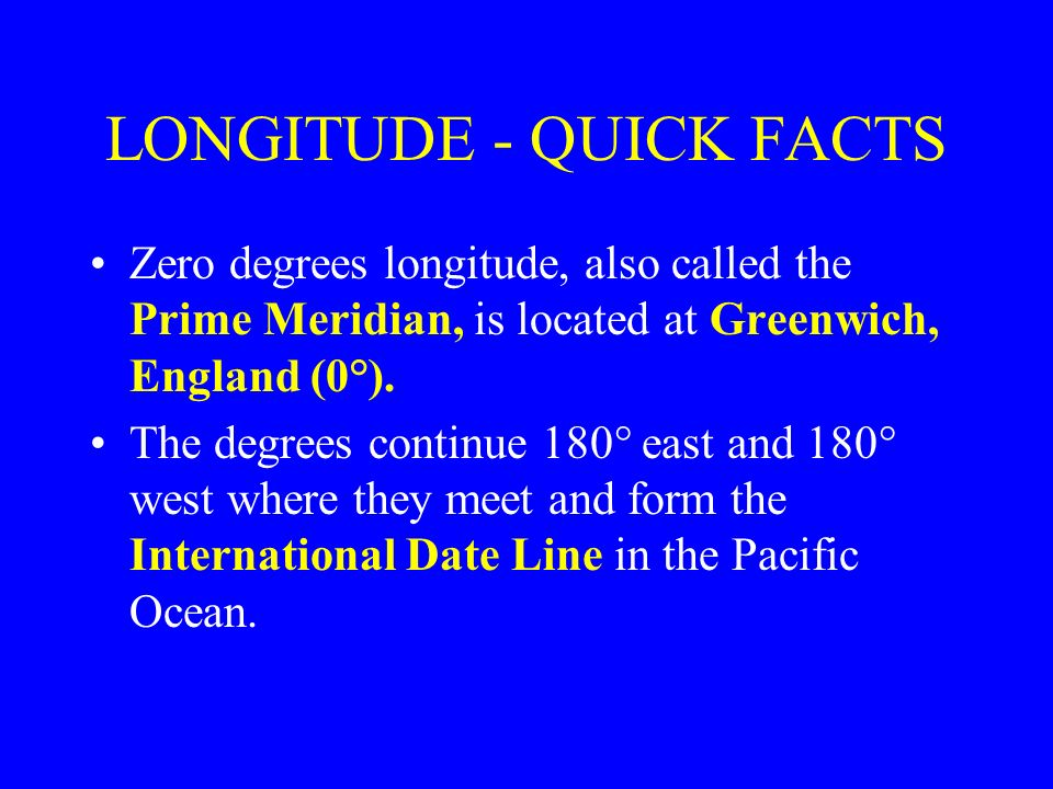 LONGITUDE - QUICK FACTS