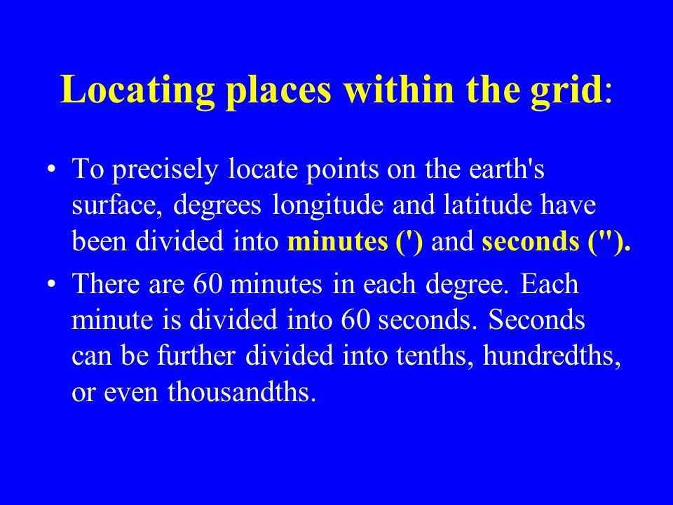 Locating places within the grid: