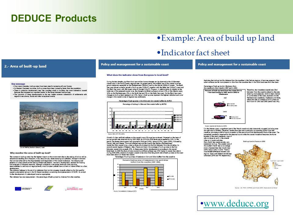 DEDUCE Products www.deduce.org Example: Area of build up land