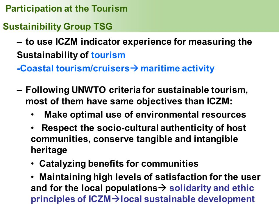INDEX Participation at the Tourism Sustainibility Group TSG