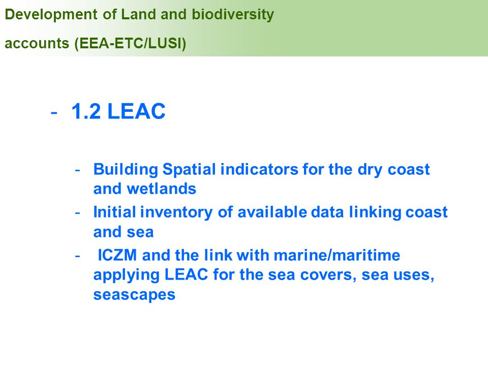 Development of Land and biodiversity accounts (EEA-ETC/LUSI)