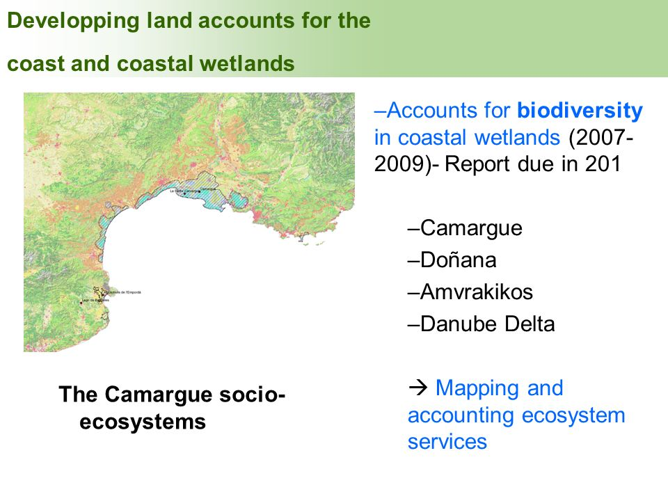 INDEX Developping land accounts for the coast and coastal wetlands
