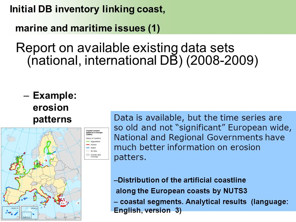 Initial DB inventory linking coast, marine and maritime issues (1)