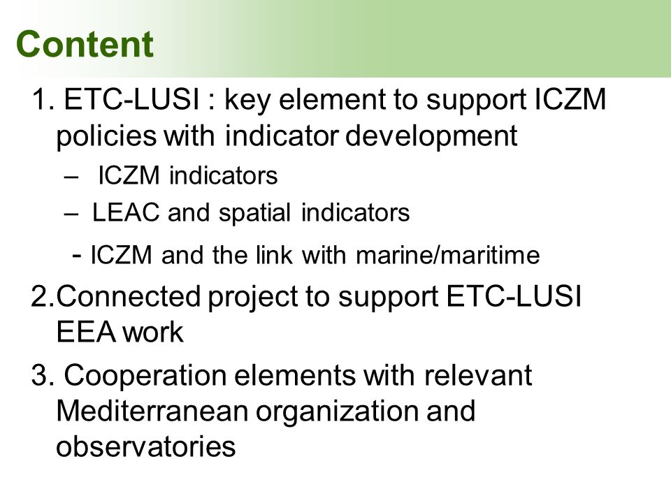 - ICZM and the link with marine/maritime