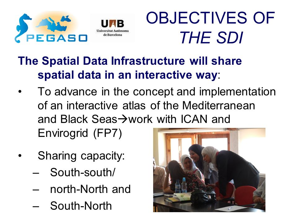 OBJECTIVES OF THE SDI The Spatial Data Infrastructure will share spatial data in an interactive way: