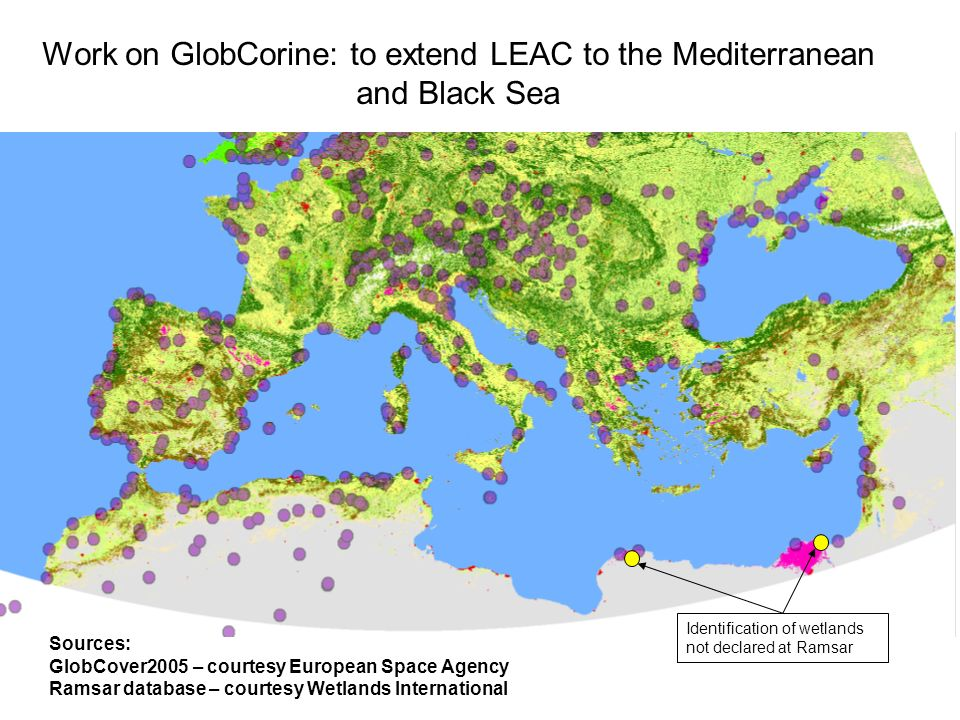 Work on GlobCorine: to extend LEAC to the Mediterranean and Black Sea