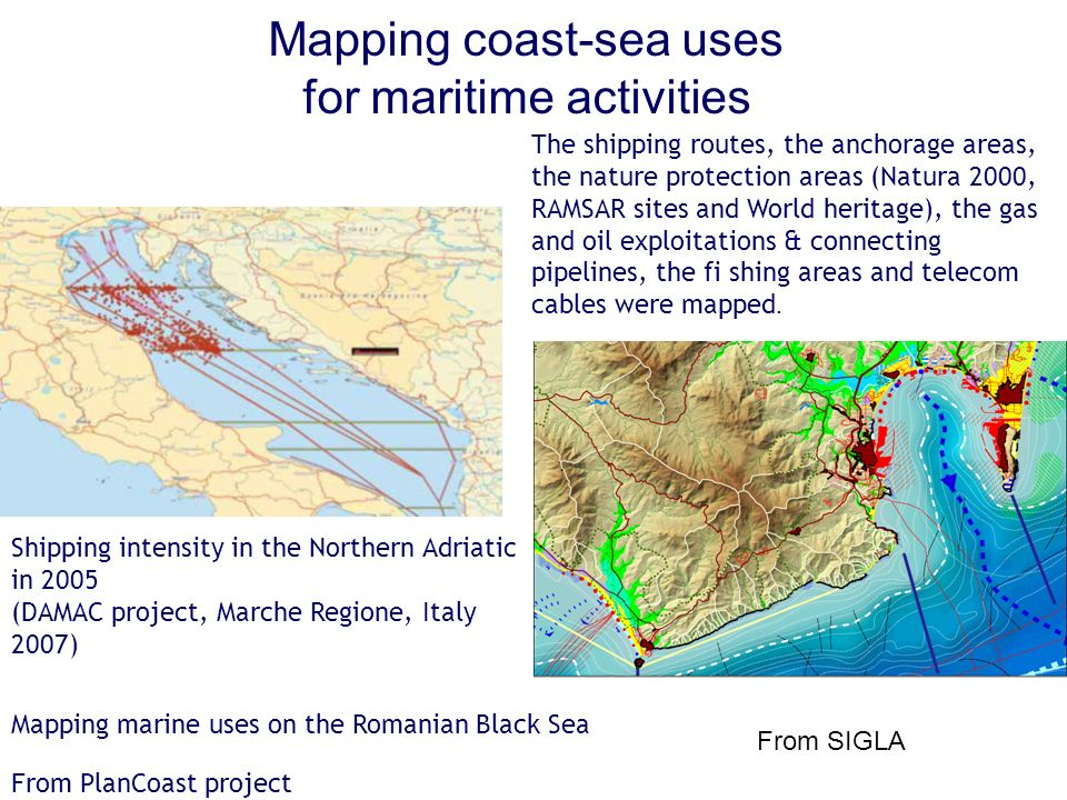 Mapping coast-sea uses for maritime activities