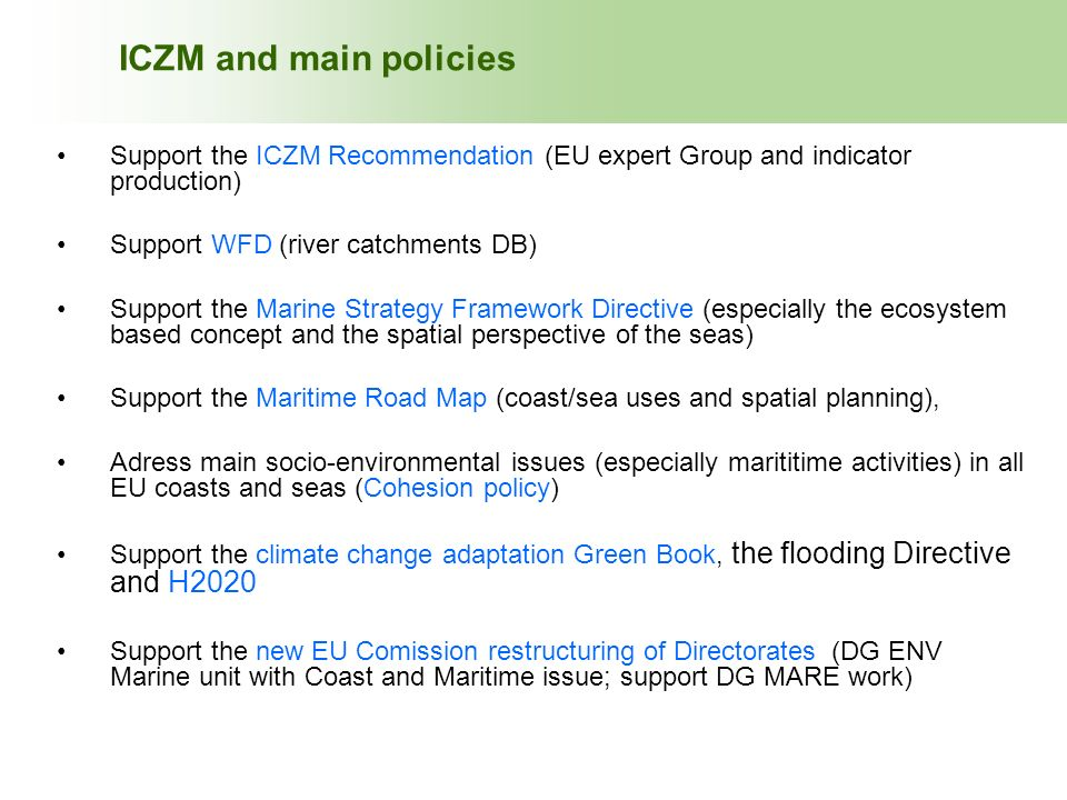 ICZM and main policies ICZM and main policies