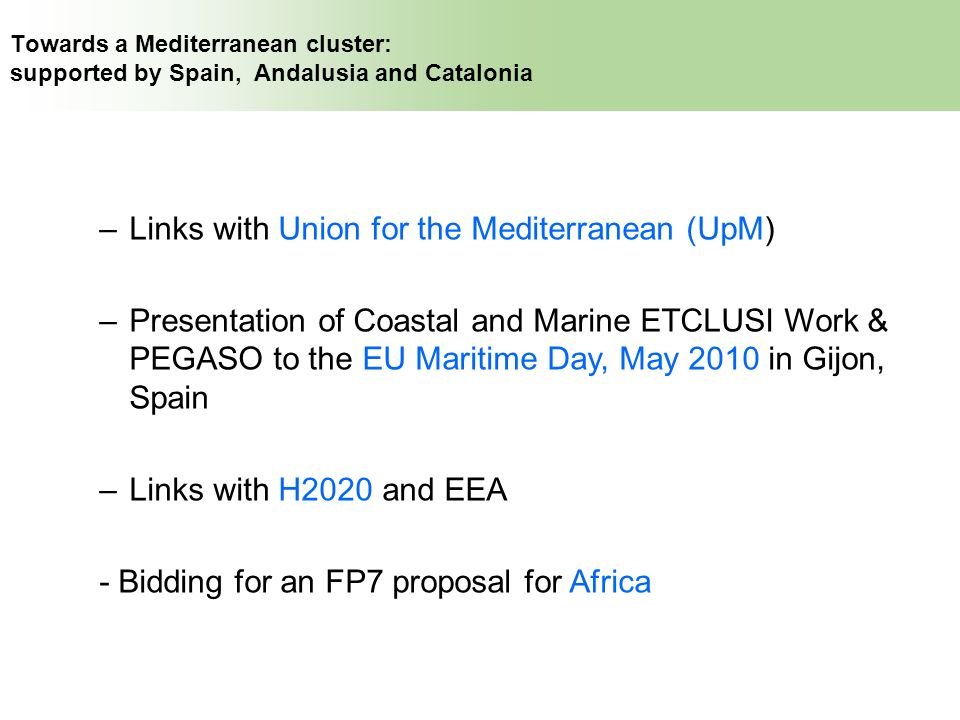 Links with Union for the Mediterranean (UpM)