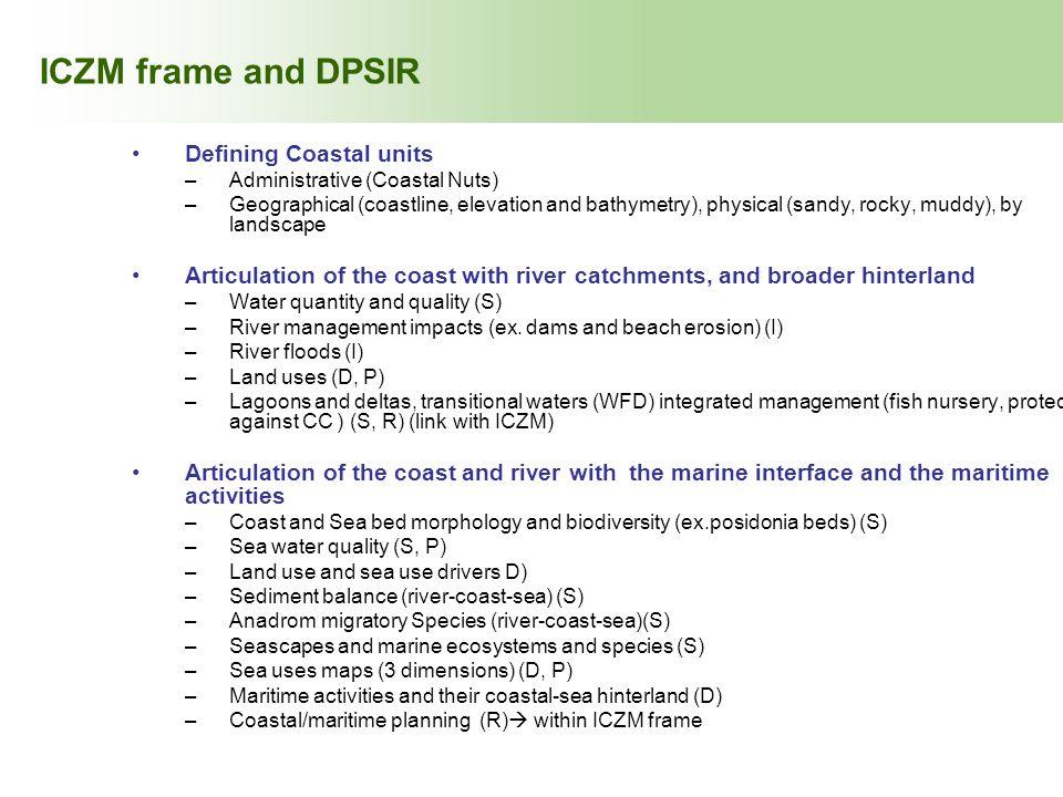 ICZM frame and DPSIR Defining Coastal units
