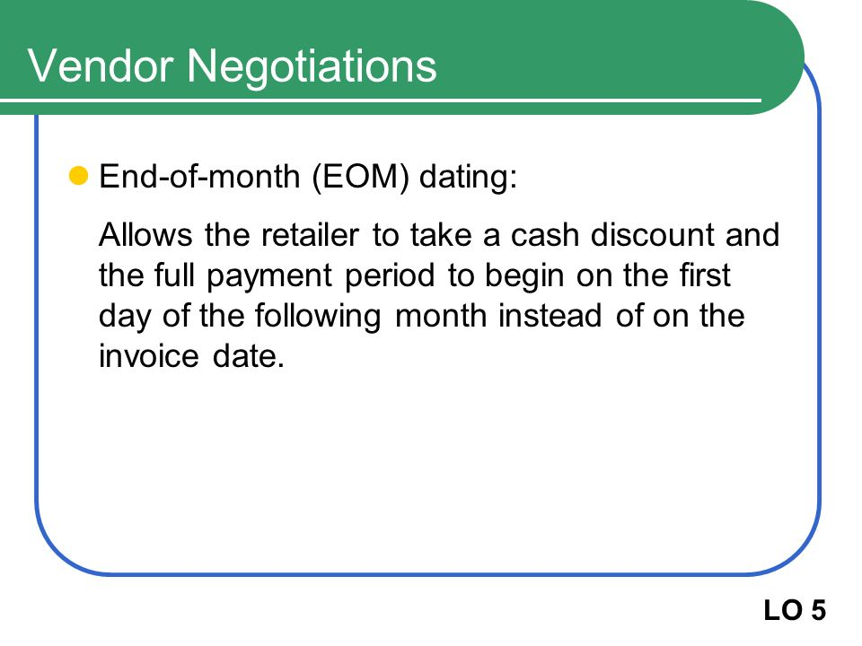 End of month eom dating