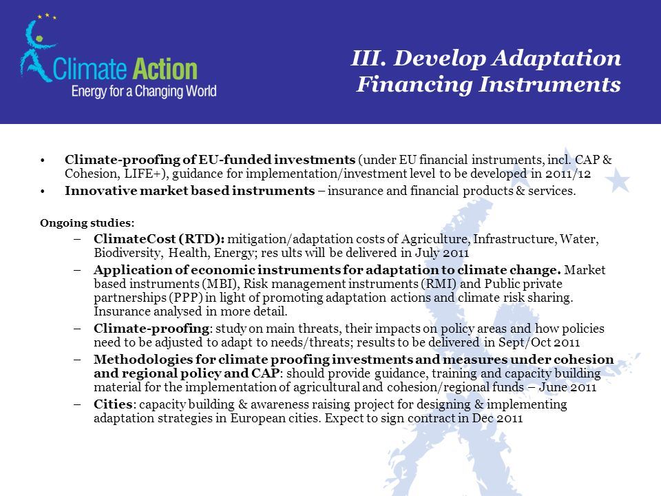 III. Develop Adaptation Financing Instruments
