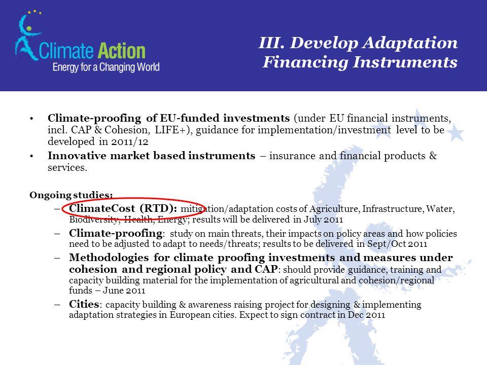 III. Develop Adaptation Financing Instruments