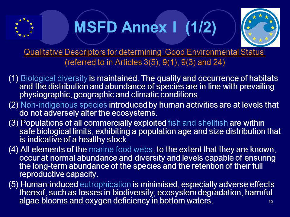 MSFD Annex I (1/2) Qualitative Descriptors for determining 'Good Environmental Status' (referred to in Articles 3(5), 9(1), 9(3) and 24)
