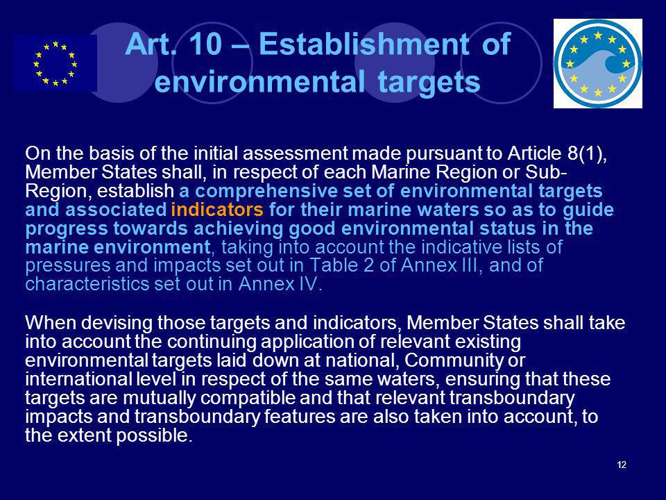 Art. 10 – Establishment of environmental targets