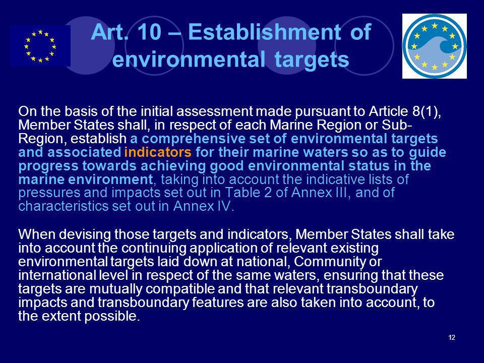 Art. 10 – Establishment of environmental targets