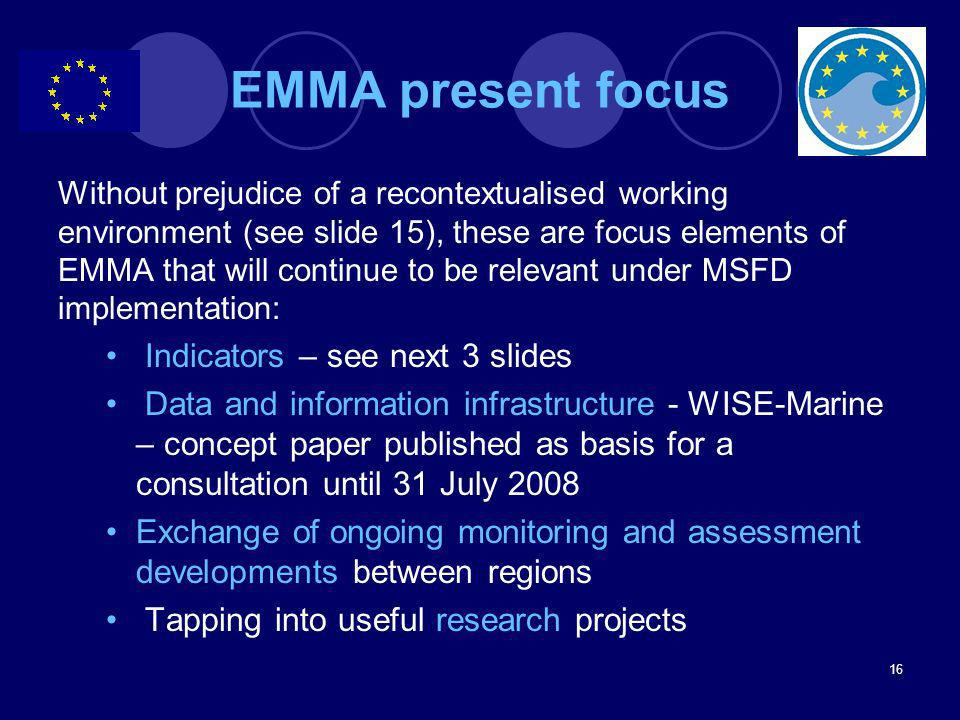 EMMA present focus Indicators – see next 3 slides