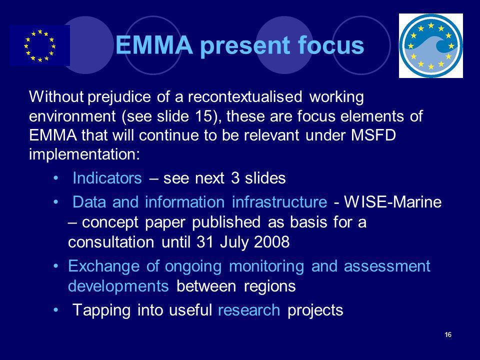 EMMA present focus Indicators – see next 3 slides