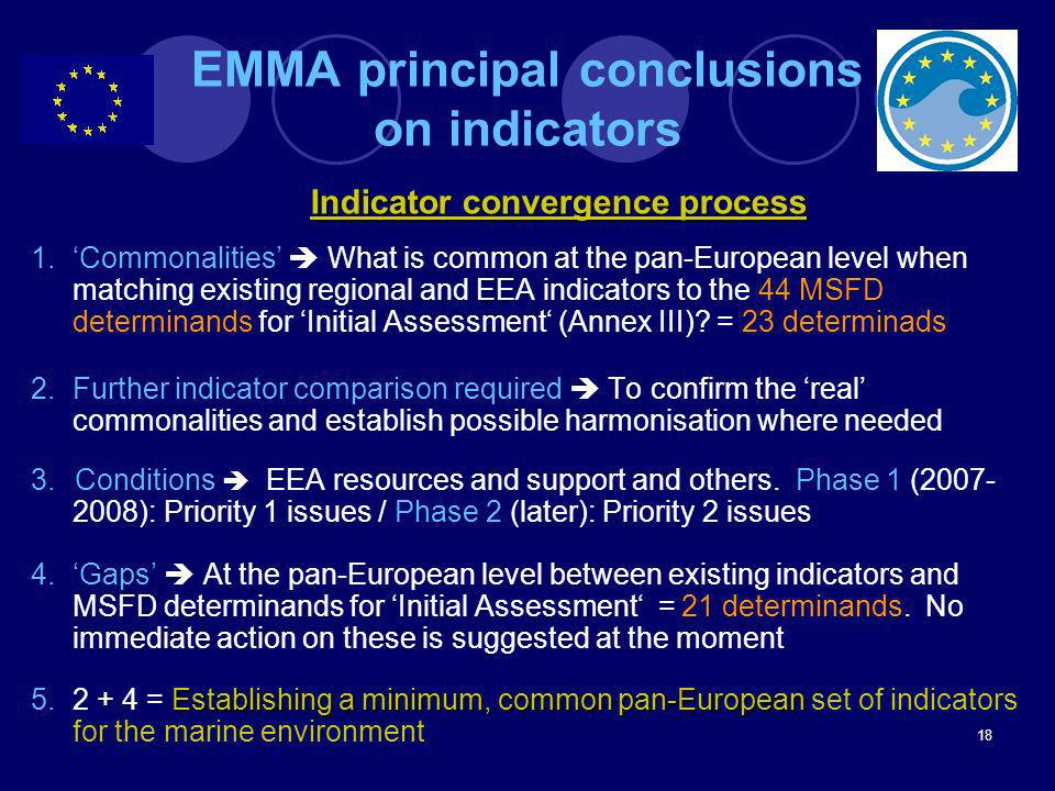 EMMA principal conclusions on indicators
