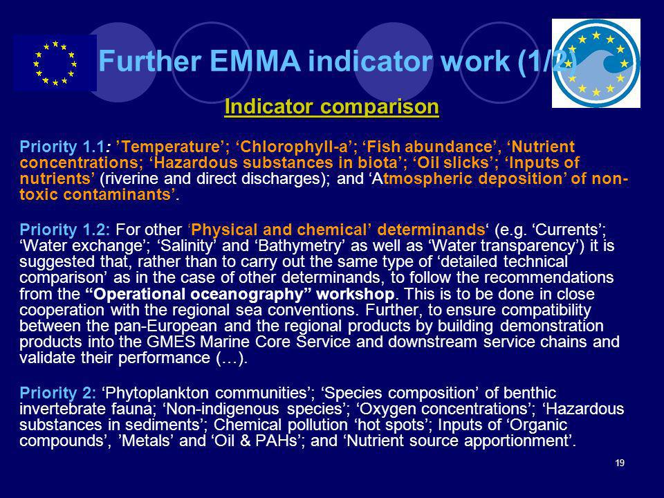 Further EMMA indicator work (1/2)