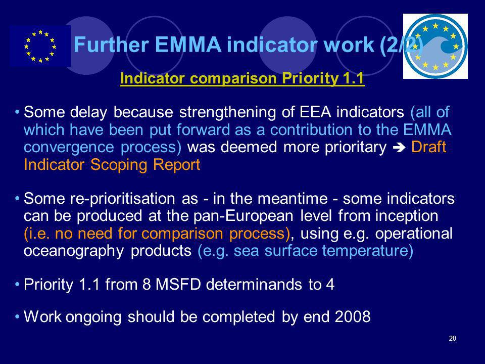 Further EMMA indicator work (2/2)