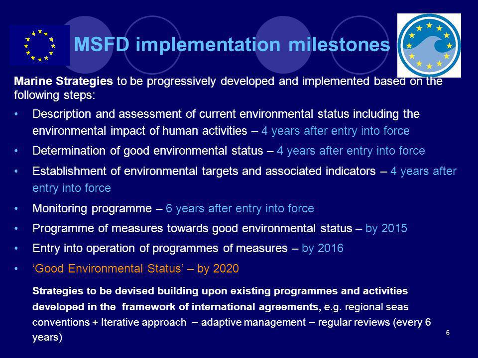 MSFD implementation milestones