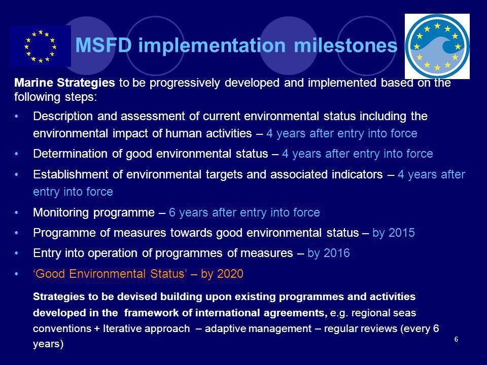 MSFD implementation milestones