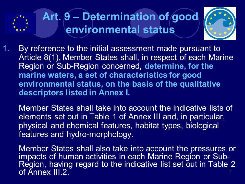 Art. 9 – Determination of good environmental status