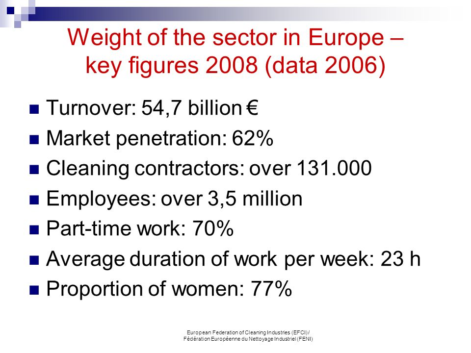 Weight of the sector in Europe – key figures 2008 (data 2006)