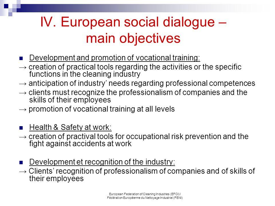 IV. European social dialogue – main objectives