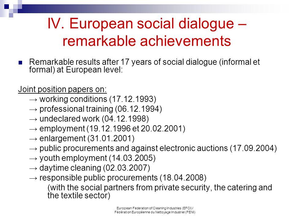 IV. European social dialogue – remarkable achievements