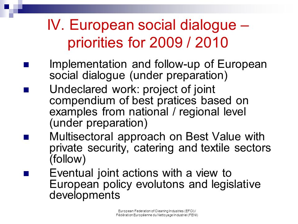 IV. European social dialogue – priorities for 2009 / 2010